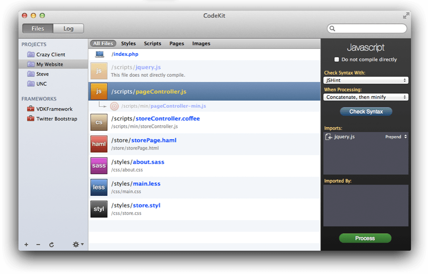A screenshot of CodeKit 1.0
