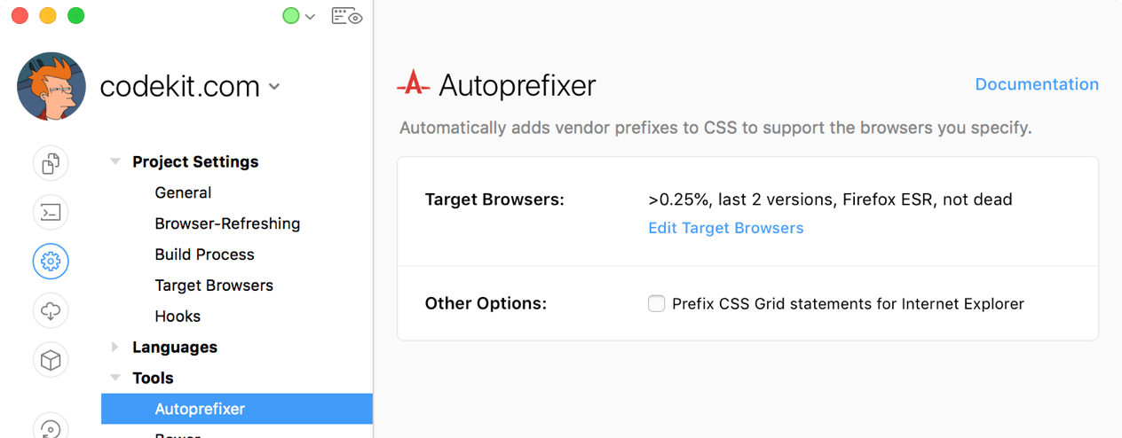 A screenshot of the Autoprefixer settings category of Project Settings in the CodeKit window.