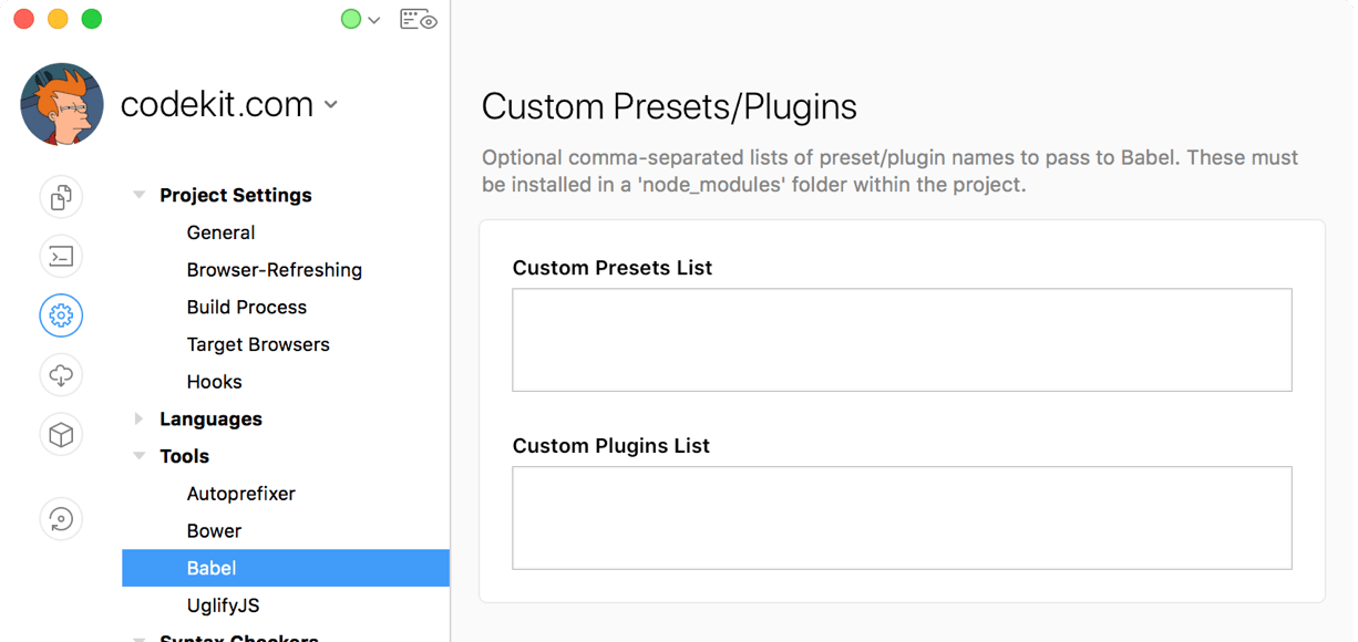 a screenshot of the custom plugins and presets text fields in the codekit window