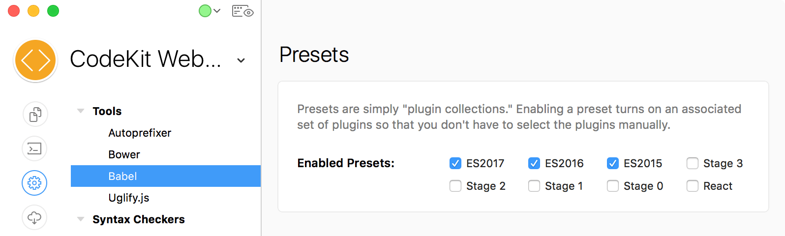 a screenshot of the babel presets in project settings in the CodeKit window