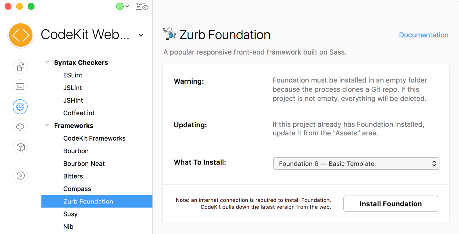 a screenshot of the Zurb Foundation category of Project Settings in CodeKit