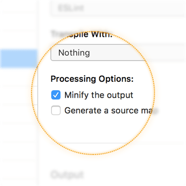a screenshot of the minify output checkbox in the file inspector pane in CodeKit
