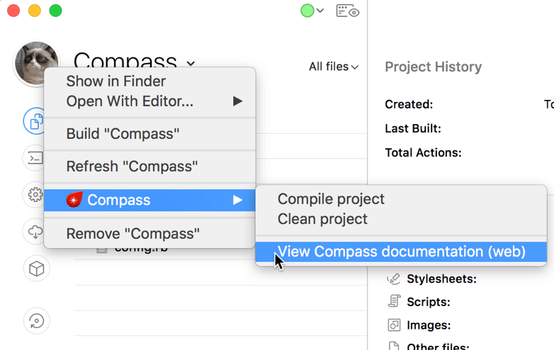 A screenshot of the Compass commands submenu in the CodeKit window
