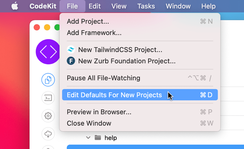 A screenshot of the menu command to edit defaults for new projects in CodeKit
