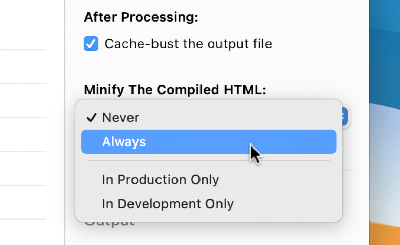 a screenshot of the HTML-minifier checkbox in the file inspector pane in CodeKit