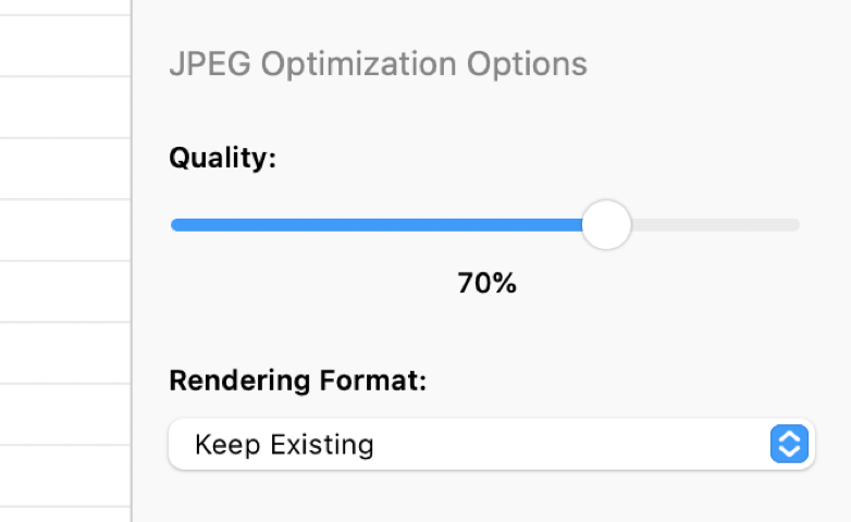 a screenshot of the JPEG Optimization Options in the CodeKit Window