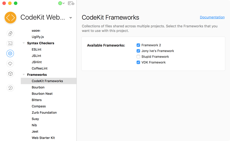 A screenshot of the CodeKit Frameworks category in the project settings area of the CodeKit window