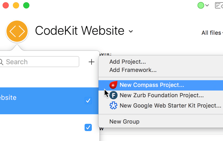 A screenshot of the New Compass Project option in the CodeKit window