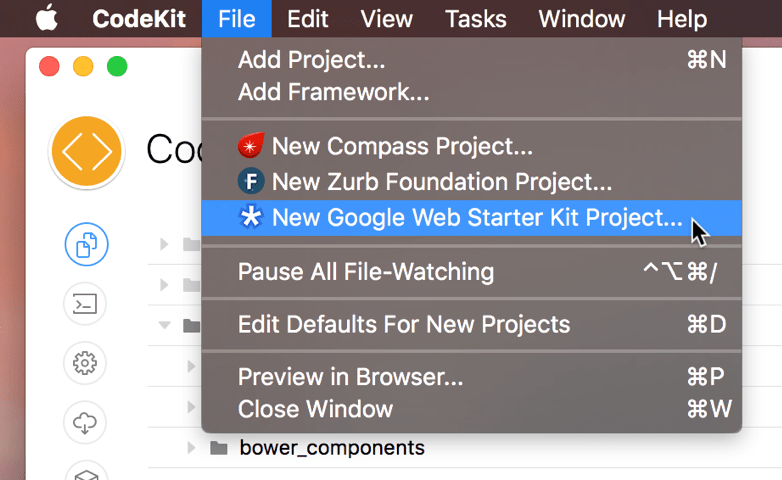 A screenshot of the New Google Web Starter Kit menu command