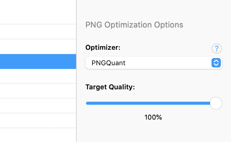 a screenshot of the PNG Optimization Options in the CodeKit Window