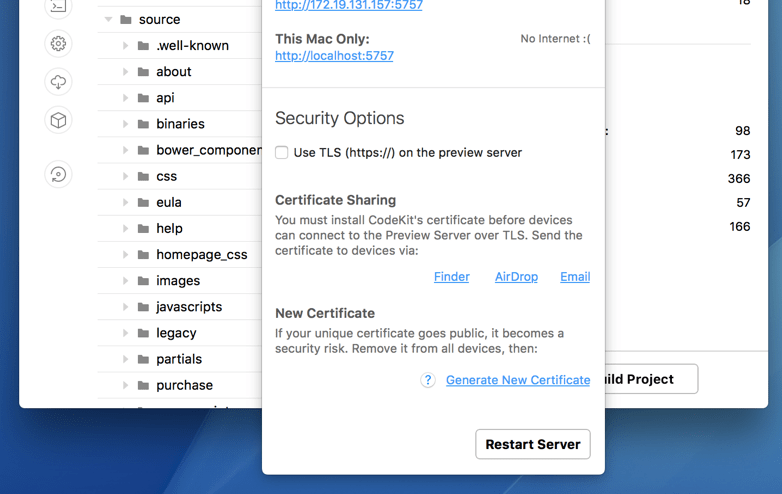A screenshot of the Server Popover in CodeKit 3 showing options for sharing TLS Certificates.